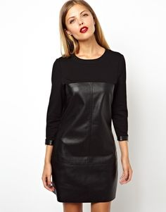 ASOS Shift Dress In Leather Look