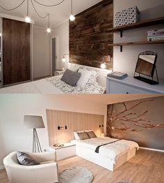Drewno na ścianie w sypialni? Wybieracie pierwsze czy drugie zdjęcie?Pod spodem nasze realizacje. #projektowaniewnętrz #wykończeniewnętrz #aranżacjawnętrz