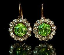 Antique Russian 14k Gold, Demantoid Garnet and Diamond Cluster Earrings - Moscow, Russia c. 1899-1908