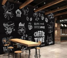 Beibehang Custom wallpaper European style hand painted black and white coffee shop mural restaurant mural wallpaper for wall 3 d - AliExpress Small Restaurant Design, White Restaurant, Deco Restaurant, Restaurant Interior Design, Coffee Shop Interior Design, Coffee Shop Design, Cafe Design, House Design, Cafe Bar