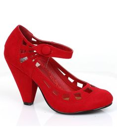 Retro Style Red Microsuede Everly Pumps