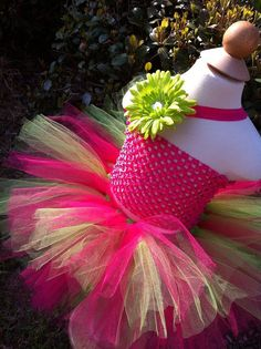 Pink and Green Tutu Birthday Tutu Set with by TinyTotsTutuBoutique, $28.00