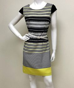 Look what I found on #zulily! Black & Yellow Stripe Belted Cap-Sleeve Dress #zulilyfinds