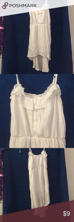 White spaghetti strap high low dress White, spaghetti strap, high low dress, large, 60% rayon, 40% polyester Dresses High Low