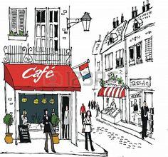 illustration of French village cafe street scene