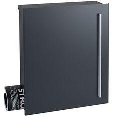MOCAVI Box 110 Design-Briefkasten mit Zeitungsfach anthrazit-grau (RAL 7016) Wandbriefkasten, Schloss rechts, groß, Aufputzbriefkasten dunkelgrau, Postkasten anthrazitgrau modern mit Zeitungsrolle