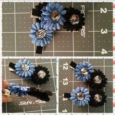 Blue and black flowers with zebra jewel center...