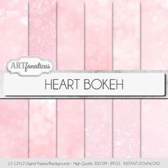 "Bokeh digital papers ""HEART BOKEH"" paper, pink background, bokeh, bokeh hearts, perfect for photographers, scrapbooking, blogs, and more on Etsy, $4.90"