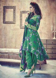 Green Floral Printed Patiala Suit