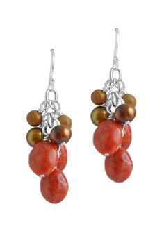 Coral Beaded Cluster Earring