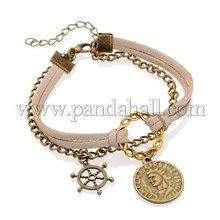 Tibetan Style Alloy Multi-Strand Bracelets, Korean Faux Suede Cord with Coin and Helm Pendants, Iron Chains and Lobster Claw Clasps, Antique Bronze and Antique Golden, PeachPuff, 190mm