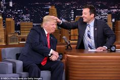David Letterman thought Jimmy Fallon's interview with Donald Trump (pictured) was a wasted opportunity when the comedian ruffled the president's hair for a laugh