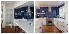 navy blue back splash kitchen