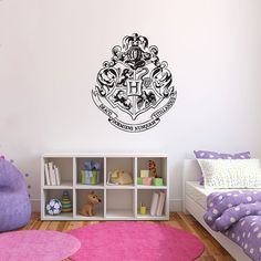 Harry Potter Hogwarts Crest Wall Decal by CustomVinylDNA on Etsy