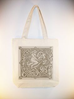 Vintage Witch Riding Demon Goat Canvas Tote ANY COLOR IMAGE by Whimsybags, $12.00