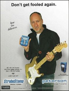The Who Pete Townshend Buzz Feiten Tuner on Fender Stratocaster guitar 8 x 11 ad Fender Guitar Amps, Fender Bass, Stratocaster Guitar, Acoustic Guitar, Guitar Magazine, Pete Townshend, Guitar Tuners, Cool Electric Guitars, Guitar Collection