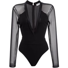 Fleur Du Mal tuxedo bodysuit (€345) ❤ liked on Polyvore featuring intimates, shapewear, bodysuit and black