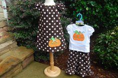 Girls Fall Pumpkin Peasant Dress. $35.00, via Etsy.