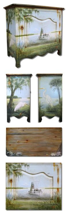"Hand painted ""Shrimp boat and Lowcountry"" scene chest. Old furniture makeovers and redo."