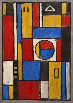 Lote 44 Constructivo en colores primarios con círculo : Joaquín Torres García