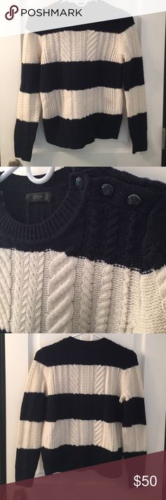 JCrew Chunky Wool Striped Sweater NWOT New without tags! 100% wool navy blue and cream striped sweater. J. Crew Sweaters