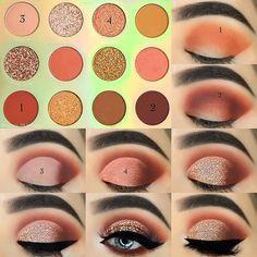 Makeup Eye Looks, Eye Makeup Steps, Smokey Eye Makeup, Eyeshadow Looks, Eyeshadow Palette, Yellow Eyeshadow, Natural Eye Makeup Step By Step, Beautiful Eye Makeup, Make Up Tutorial Contouring