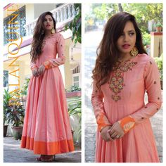 #styledrive#palanquinebysandhyashah. Chanderi gown to beat the heat with very fine and delicate hand Emb