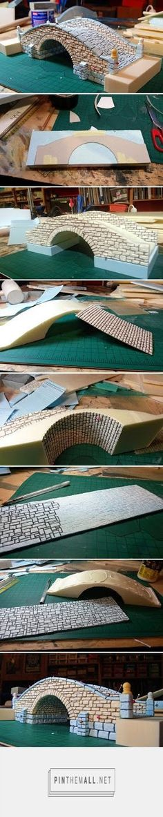 Miniature Warfare: Building a Bridge. - a grouped images picture Miniature Warfare: Building a Bridge. - a grouped images picture - Pin Them All - love this idea for a garden or park scene in miniature Christmas Village Display, Christmas Villages, Christmas Games, Diy Christmas, Holiday, Minis, Wargaming Terrain, Miniature Houses, Miniature Crafts