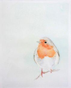 Robin No.4 - 8x10 Print of Original Watercolor - Bird Illustration - Nature Art - Bird Watercolor Painting - Ed. 1/100. $20,00, via Etsy.