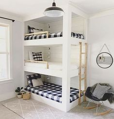 """40 Cute Triple Bunk Bed Design Ideas For Kids Rooms To Have - Many of us who grew up in the """"old days"""" have very fond memories of life in bunk beds. Whether you shared your room with your brother or sister or fir. Bunk Beds For Girls Room, Bunk Bed Rooms, Bunk Beds With Stairs, Cool Bunk Beds, Kid Beds, Cheap Bunk Beds, Murphy Bunk Beds, Bedroom Boys, Shared Kids Rooms"""