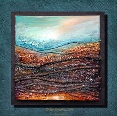 Jools Robertson: DecoArt Texture and Glass Media Canvas - step by step.  Yarn, glass beads, crackle