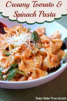 Creamy Tomato and Spinach Pasta on MyRecipeMagic.com