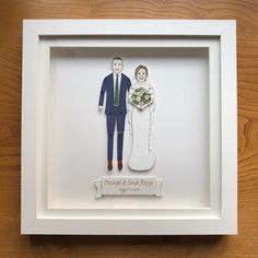 chunkydumpling shared a new photo on Etsy Pen And Watercolor, Watercolor Pencils, Deep Box Frames, Sharpie Pens, Portrait Illustration, Paper Dolls, My Drawings, Weddingideas, Anniversary Gifts