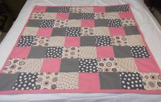Pink Grey Baby Quilt, Grey Pink Baby Quilt, Pink Grey Baby Bedding, Pink Grey Nursery. $39.50, via Etsy.