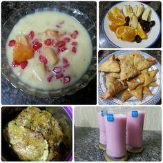 Today's Iftari Spl #fruitcustard #fruitsplatter #samosas #murthaba #rosemilk