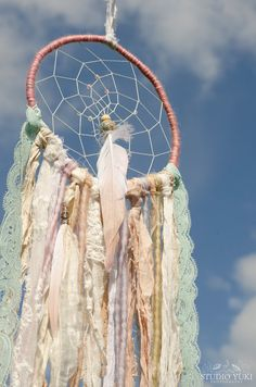 Boho Dreamcatcher, Pastel, Shabby Chic, Gypsy Home Decor, Bohemian Wall Hanging, by Studio Yuki