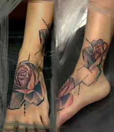 painterly roses foot tattoos