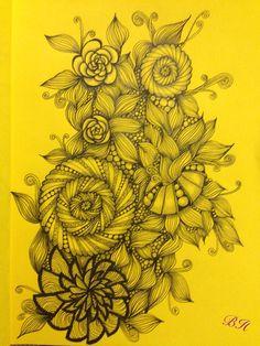Zentangle inspirierte Zeichnung. Gelbes Papier, DIN A5.  Von Silberstreif. #zentangle