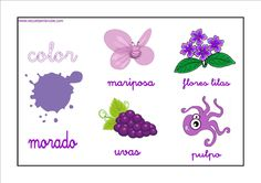 Colores - Morado http://www.educapeques.com/recursos-para-el-aula/los-colores-fichas-para-aprender-y-repasar.html