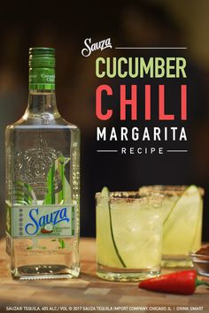 Spice up your Cinco de Mayo celebration with our Sauza® Cucumber Chili Margarita.   2 parts Sauza® Cucumber Chili 1 part DeKuyper® Triple Sec Liqueur 2 parts Fresh Lemon Sour (2 parts lemon juice + 1 part simple syrup) Juice of a whole lime  Directions: Add ingredients to an ice-filled shaker. Shake and strain over ice in a salt-rimmed cocktail or margarita glass. Garnish with lime on the rim and float a thin slice of cucumber.