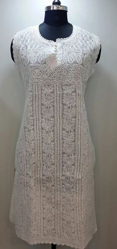 Lucknow Chikan Online Kurti White on White Cotton with very fine chikankari murri, shadow & kangan work with designer neckline   $41