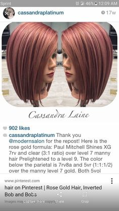 Rose gold Paul Mitchell XG shines The most beautiful hair ideas, the most trend hairstyles on this p Hair Color And Cut, Haircut And Color, Hair Color Formulas, Gold Hair Colors, Hair Affair, Rose Gold Hair, Great Hair, Hair Day, Gorgeous Hair