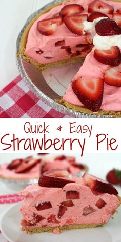 & Easy Strawberry Pie Recipe No Bake Easy Strawberry Pie- Super Simple and comes together quickly. Makes for a great summer BBQ dessert.No Bake Easy Strawberry Pie- Super Simple and comes together quickly. Makes for a great summer BBQ dessert. Bbq Desserts, No Bake Desserts, Delicious Desserts, Quick Easy Desserts, Holiday Desserts, Healthy Desserts, Recipes For Desserts, Light Summer Desserts, Cool Whip Desserts