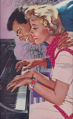 Three handed piano romance... Why does he leer like Anthony Perkins?
