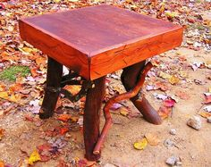Rustic Red Pine End Side Table 22x22 Log Cabin Adirondack Furniture by J. Wade | eBay