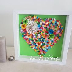 SALE Quilled Heart,  Handmade Paper Quilling Art, Home Decoration, wall decor, quilled heart, Valentines