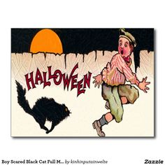 Boy Scared Black Cat Full Moon Fence Run Postcard