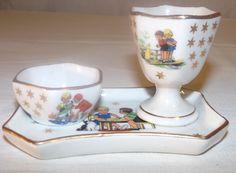 Magnifique ensemble coquetier en porcelaine de Germaine Bouret