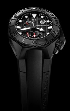"GIRARD-PERREGAUX Chrono Hawk in black Ceramic, with the GP03300-0074 caliber self-winding movement, has a 46-hour power reserve, indicated by a large arrow at 6 o'clock, on a retrograde scale with ""UP"" and one end and ""WIND"" at the other. (Best Power Reserve Indicators of 2013) - Hautetime"