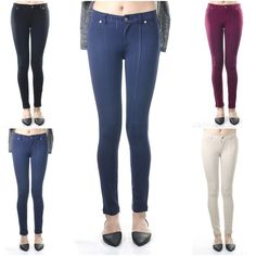 ebclo - YMI Long Skinny Pants Fake Front Pockets Stretchy Casual Trousers NEW #ebclo #CasualPants $18.00 Free Domestic Shipping